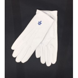 White Gloves with Dark Blue...
