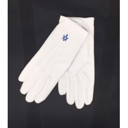 White Gloves with Dark Blue...